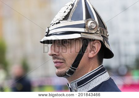 BUDAPEST, HUNGARY - 20 AUGUST 2017:Parade performance of the Hungarian Guard in front of tourists near the parliament in Budapest