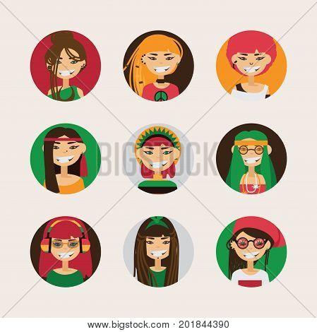 Vector user avatars of cute rastafarian girls with various hairstyle color and different accessories and clothes style. Bright set with smiling female characters.