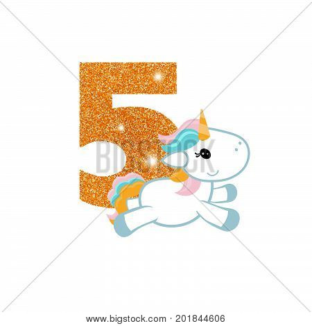 Gold glittering number five. Birthday anniversary number with cute unicorn. Birthday template with unicorn for greeting cards, invitations.