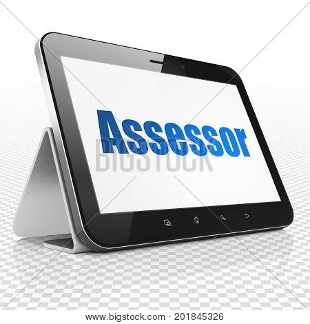 Insurance concept: Tablet Computer with blue text Assessor on display, 3D rendering