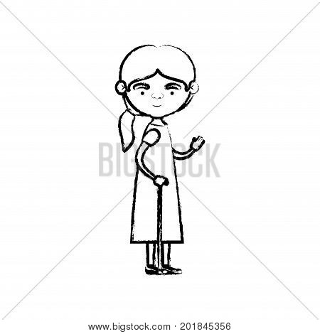 blurred silhouette of full body elderly woman in walking stick with dress and ponytail side hairstyle vector illustration