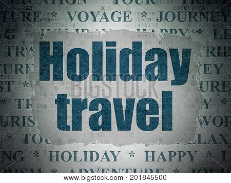 Tourism concept: Painted blue text Holiday Travel on Digital Data Paper background with   Tag Cloud