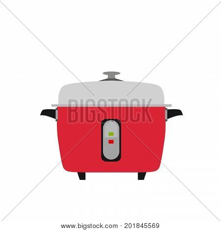 Cooker rice vector electric icon illustration kitchen food pot object background slow pan isolated