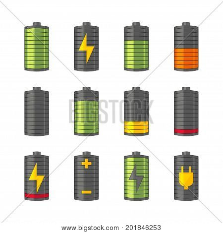 Phone or smartphone battery icons with various charges from fully charged to empty. Isolated on the white background. Vector illustration.