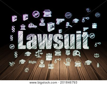 Law concept: Glowing text Lawsuit,  Hand Drawn Law Icons in grunge dark room with Wooden Floor, black background