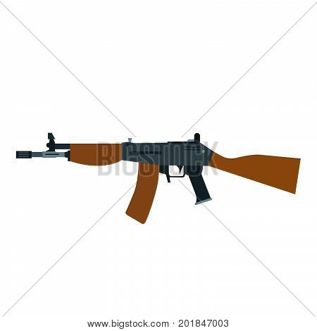 Rifle assault gun vector machine illustration weapon automatic military isolated modern icon army