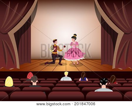Theater actors dressed Like a Prince and a Princess on stage. Vector illustration