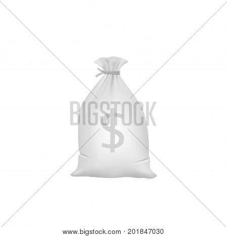 Grey Money bag with dollar sign. Official currency of the USA