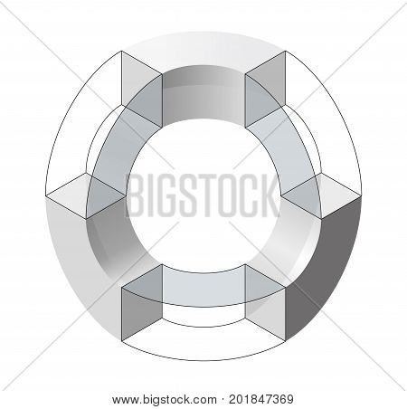 Abstract curved vector shape reminiscent of DNA strand, technological development, nanotechnology component. Isometric brand of scientific institution, research center, laboratories, spatial paradox.