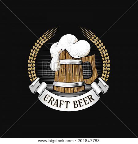 Wooden mug of beer with barley ears. Craft brewery logo. Stock vector illustration.
