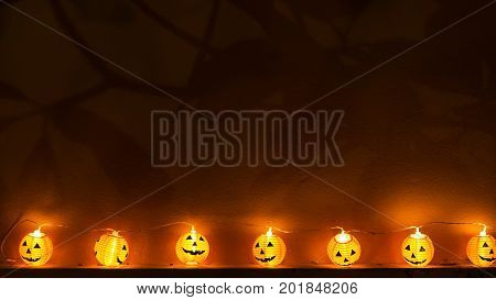 Halloween pumpkins in forest select focus,Spooky tree. Horror background with woods, spooky tree in midnigh,select focus