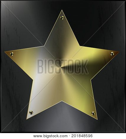 dark iron background, metal stylized square with geometric figure golden star and holes