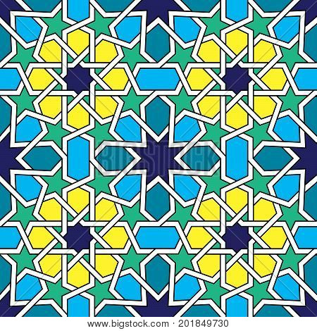 Moroccan tiles pattern, Moorish seamless vector design, Geometric abstract tiles