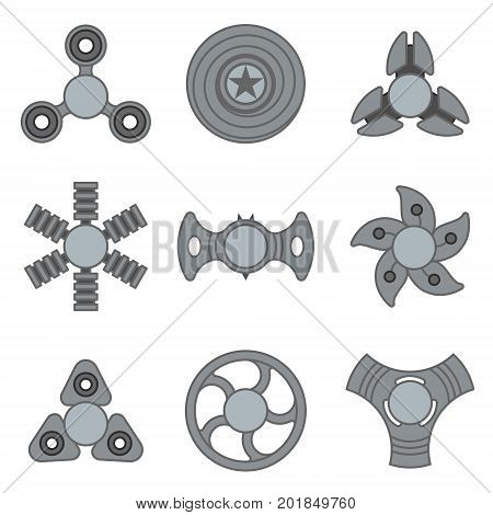 Extra style hand fidget spinner toy vector monochrome icon set. Stress and anxiety relief. Colorful illustrations, logo design
