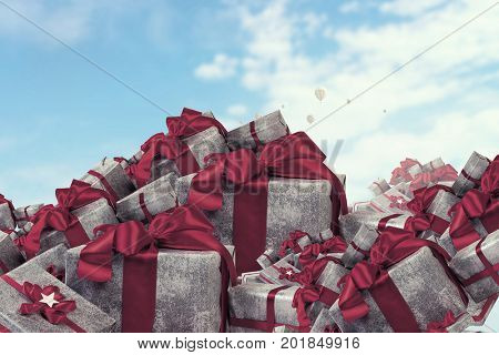Mountain of gift boxes. Mixed media