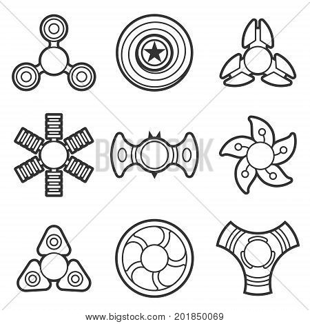 Extra style hand fidget spinner toy vector line style icon set. Stress and anxiety relief. Colorful illustrations, logo design