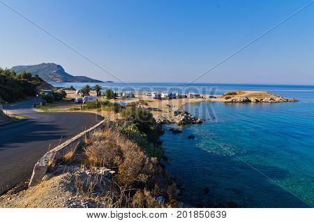 Morning at campers favorite site for summer vacations, near Destenika, Sithonia, Greece