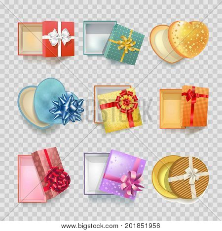Gift boxes with ribbon on decoration bow of different shapes. Modern or vintage round and heart square cardboard gift box for Christmas or birthday gift package. Vector 3d realistic isolated icons