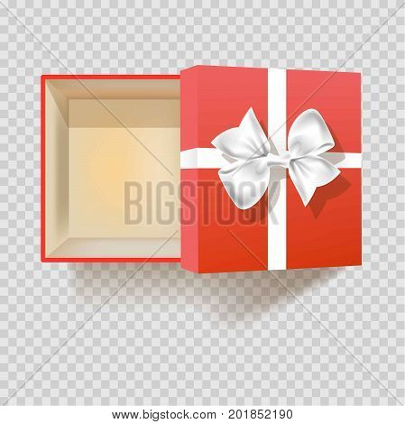 Gift box with ribbon bow. Modern red or vintage square empty cardboard gift box with open cover for Christmas or birthday gift package. Vector 3d realistic isolated icon top view