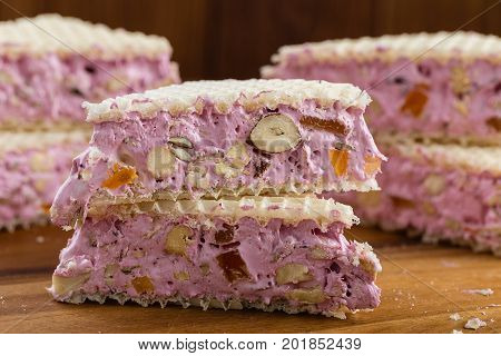 Traditional Italian Nougat With Nuts And Candied Fruits
