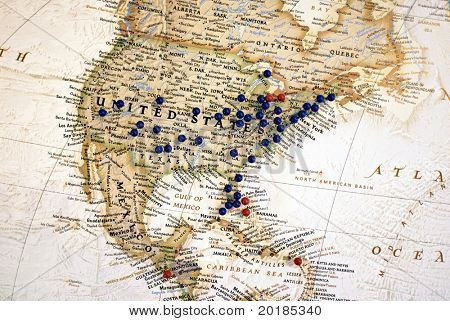 United States Map with Map Tacks