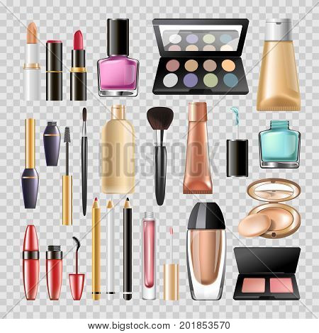 Makeup cosmetics or woman beauty make-up acessory tools of mascara eyeliner, nail polish ot tonal BB powder and moisturizer cream, lipstick and eye mirror. Vector isolated 3D cosmetic icons