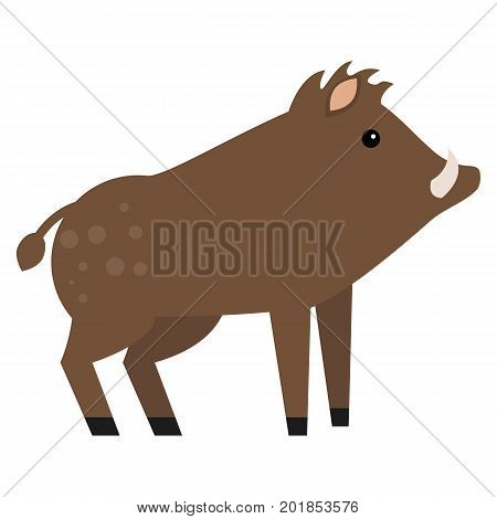 Wild boar animal flat icon, vector sign, colorful pictogram isolated on white. Symbol, logo illustration. Flat style design