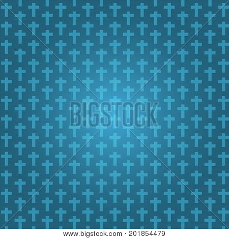 background dark blue color halloween with crucifix pattern texture vector illustration