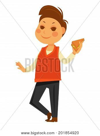 Boy child eating sandwich and holding school lunch in hand. Vector flat isolated kid icon set