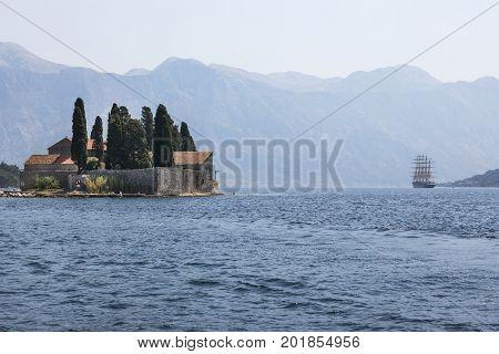 PERAST, MONTENEGRO - AUGUST 04, 2017:St. George Island in the Bay of Kotor.