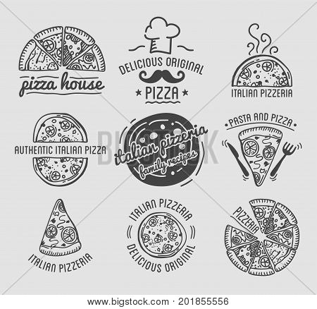 Pizza for pizzeria logo sketch templates set for Italian restaurant or fast food bistro menu. Chef hat, margherita or capricciosa slice with mozzarella cheese on wooden cutting board. Vector icons
