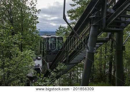 UKKO-KOLI HILL, FINLAND ON JULY 05. View of the lift, elevator between the parking lots and Break Sokos Hotel on July 05, 2017 in Ukko-Koli Hill, Finland. The surrounding. Editorial use.