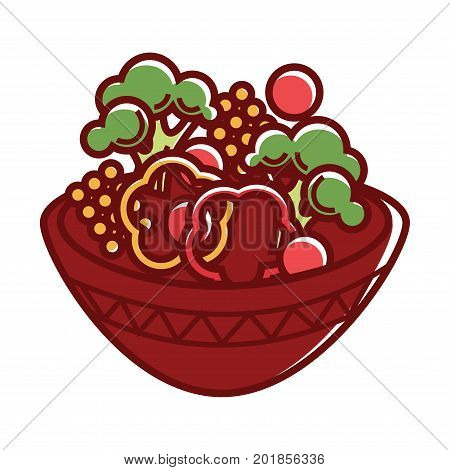 Vegetarian salad of vegetables in bowl plate. Healthy organic vegan food cauliflower, pepper or tomato and cucumber with lettuce salad. Vector isolated icon