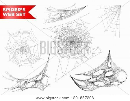 Spiderweb or spider web and cobweb 3D icons of different shapes on wall corner. Vector isolated realistic spiders net icon on white background for Halloween design element