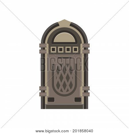 Flat retro jukebox isolated on white. Music device. Modern trendy design for music concept. Vector box illustration