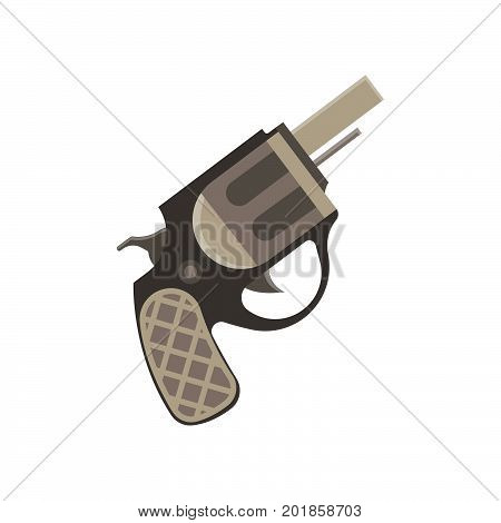 Revolver gun pistol vector vintage bullet weapon white handgun war metal danger illustration old