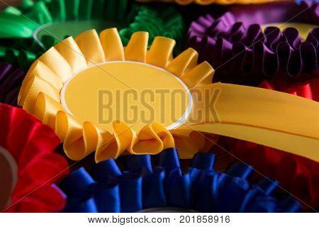 Full Frame Shot Of Colourful Political Rosettes