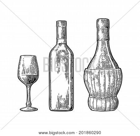 Wine glass, classic and braided bottle. Vintage black engraving vector illustration isolated on white background. For label poster, web.