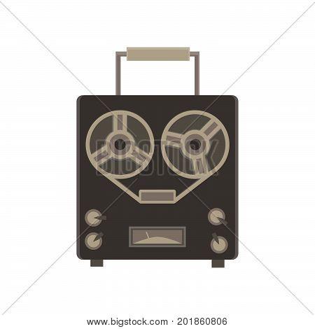 Recorder audio retro icon vector player vintage equipment record tape button illustration isolated