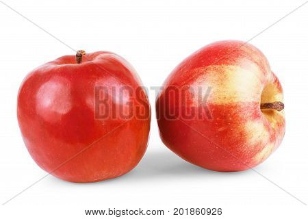 Fresh red apple isolated on white. Delicious, Sweet, Juicy, Ripe, Freshness, Three, Eat,