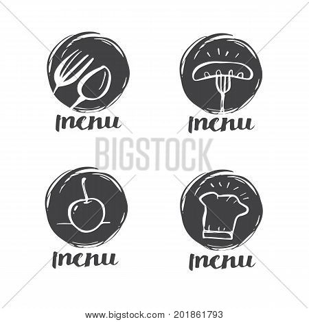 Hand drawn calligraphy cooking cuisine logo Icon and label for design menu restaurant or cafe illustration lettering vector design.