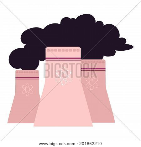 vector flat cartoon cooling towers of nuclear plant, factory with black smoke. Isolated illustration on a white background. Dirty, harmful and polluting energy resource