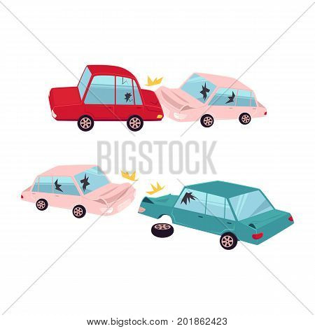 vector flat cartoon car crash, accident set. One vehicle lost its wheel, and both have dents, broken glasses, scratches. Isolated illustration on a white background.
