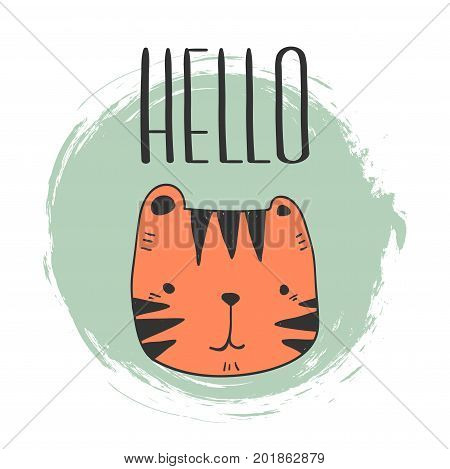 stylized baby tiger yand drawn illustration vector for print design. cute tiger for kids cards print textile and other.