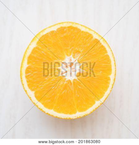 orange with half of orange isolated on the white background