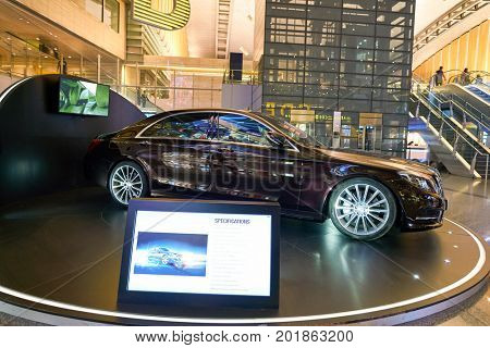 DOHA, QATAR - CIRCA MAY, 2017: a car on display at Hamad International Airport of Doha, the capital city of Qatar.