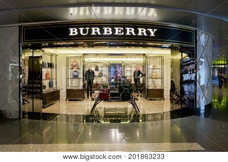 DOHA, QATAR - CIRCA MAY, 2017: Burberry store at Hamad International Airport of Doha, the capital city of Qatar.
