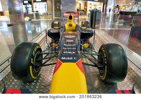 DOHA, QATAR - CIRCA MAY, 2017: Formula 1 race car at Hamad International Airport of Doha, the capital city of Qatar.