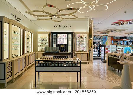 DOHA, QATAR - CIRCA MAY, 2017: Jo Malone store at Hamad International Airport of Doha. Jo Malone London is a British perfume and scented candle brand.