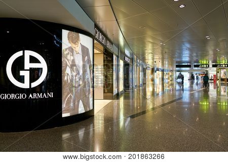 DOHA, QATAR - CIRCA MAY, 2017: Giorgio Armani store at Hamad International Airport of Doha, the capital city of Qatar.